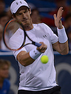 Washington, DC - August 5, 2015: Number 1 seed Andy Murray takes a forehand shot in a match against Teymuraz Gabashvii of Russia during the Citi Open tennis tournament at the FitzGerald Tennis Center in the District of Columbia August 5, 2015.  (Photo by Don Baxter/Media Images International)