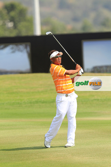 Thongchai Jaidee (THA) on the 9th fairway during Round 4 of the True Thailand Classic at the Black Mountain Golf  Club on Sunday 15th February 2015.<br /> Picture:  Thos Caffrey / www.golffile.ie