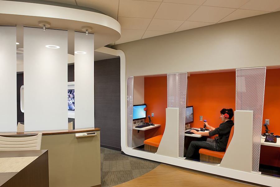 The Qualcomm Tech Cave is where telecommunications engineers go to recharge and relax before returning to rule the universe. Carrier Johnson Design - San Diego.