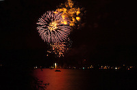 Fireworks in May at night time on the lake Alster Hamburg, Germany