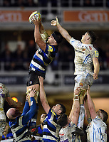 Charlie Ewels of Bath Rugby wins the ball at a lineout. Aviva Premiership match, between Bath Rugby and Exeter Chiefs on March 23, 2018 at the Recreation Ground in Bath, England. Photo by: Patrick Khachfe / Onside Images