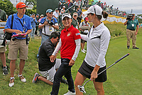 Sakura Yokomine (Japan) is congratulated by Beatriz Recari (Spain) as they walk off the 18th green during the ShopRite LPGA Classic presented by Acer, Seaview Bay Club, Galloway, New Jersey, USA. 6/10/18.<br /> Picture: Golffile | Brian Spurlock<br /> <br /> <br /> All photo usage must carry mandatory copyright credit (&copy; Golffile | Brian Spurlock)