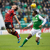 4th November 2017, Easter Road, Edinburgh, Scotland; Scottish Premiership football, Hibernian versus Dundee; Dundee's Paul McGowan and Hibernian's Efe Ambrose