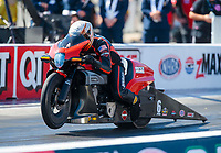 Oct 14, 2019; Concord, NC, USA; NHRA pro stock motorcycle rider Andrew Hines during the Carolina Nationals at zMax Dragway. Mandatory Credit: Mark J. Rebilas-USA TODAY Sports