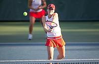 STANFORD, CA - January 26, 2011: Nicole Gibbs of Stanford women's tennis during her match with Kristie Ahn against UC Davis' Koehly/Zamudio. Ahn/Gibbs won 8-1.