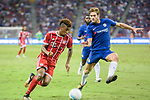 Bayern Munich Forward Kingsley Coman (L) in action against Chelsea Defender Marcos Alonso (R) during the International Champions Cup match between Chelsea FC and FC Bayern Munich at National Stadium on July 25, 2017 in Singapore. Photo by Weixiang Lim / Power Sport Images