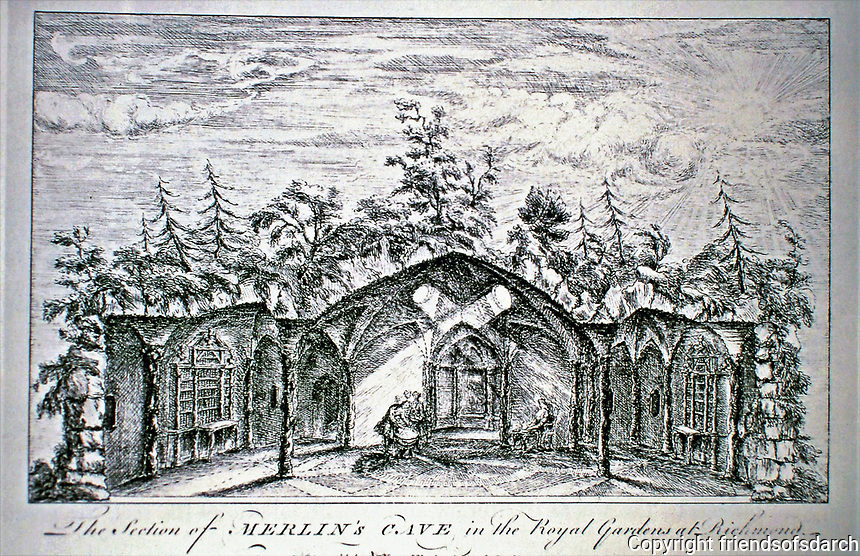 Merlin's Cave, Royal Gardens of Richmond. Artist William Kent. Plate 32, 1744.