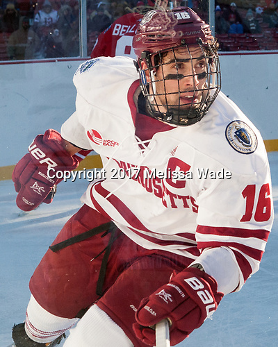 Steven Iacobellis (UMass - 16) - The Boston University Terriers defeated the University of Massachusetts Minutemen 5-3 on Sunday, January 8, 2017, at Fenway Park in Boston, Massachusetts.The Boston University Terriers defeated the University of Massachusetts Minutemen 5-3 on Sunday, January 8, 2017, at Fenway Park.