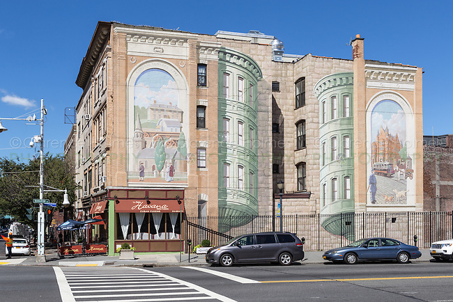 "One of the ""Gateway to Waterfront"" murals on a building wall in the Richard Haas Mural Historic District in Yonkers, New York."
