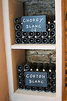 bottles in bins chorey and corton 2002 chalk board domaine maillard chorey-les-beaune cote de beaune burgundy france