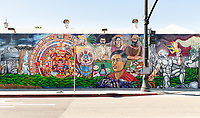 "The mural, ""Mexico-Tenochtitlan: A Sequence of Time and Culture"" is located at the corner of N. Avenue 61 and N. Figueroa Street, Highland Park. Photo taken October 16, 2018.<br /> The Quetzalcoatl (Feathered-Serpent) Mural Project (QMP) is a community based mural arts collective which began twenty-one years ago in one of the Los Angeles historic art districts. QMP's primary mission is to provide inner city youth an opportunity to showcase their artistic talents by creating an awareness campaign through public art projects in underserved Los Angeles neighborhoods.<br /> (Photo by Marc Campos, Occidental College Photographer)"