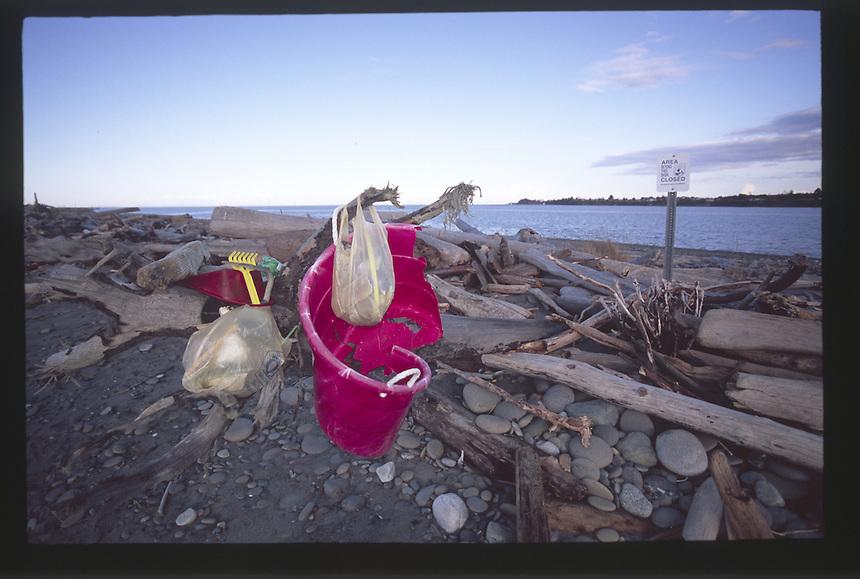 Garbage on Dungeness Spit, Dungeness National Wildlife Refuge, Olympic Peninsula, Washington, US