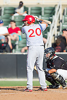 Spencer Kieboom (20) of the Hagerstown Suns at bat against the Kannapolis Intimidators at CMC-Northeast Stadium on May 31, 2014 in Kannapolis, North Carolina.  The Intimidators defeated the Suns 3-2 in game one of a double-header.  (Brian Westerholt/Four Seam Images)