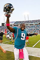 October 03, 2010:  Jacksonville Jaguars quarterback David Garrard (9) celebrates his win during AFC South Conference action between the Jacksonville Jaguars and the Indianapolis Colts at EverBank Field in Jacksonville, Florida.   Jacksonville defeated Indianapolis 31-28,........