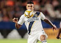 CARSON, CA - SEPTEMBER 21: Diego Polenta #3 of the Los Angeles Galaxy eyes down a ball during a game between Montreal Impact and Los Angeles Galaxy at Dignity Health Sports Park on September 21, 2019 in Carson, California.