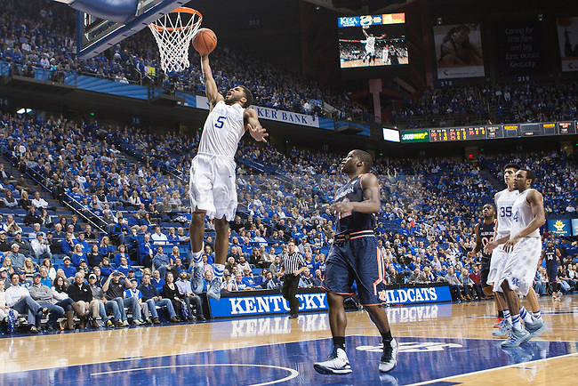 Sophomore guard Andrew Harrison of the Kentucky Wildcats slams home a dunk during the game against the Auburn Tigers at Rupp Arena on Saturday, February 21, 2015 in Lexington, Ky. Kentucky defeated Auburn 110-75. Photo by Michael M Reaves | Staff.