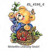 CUTE ANIMALS, LUSTIGE TIERE, ANIMALITOS DIVERTIDOS, paintings+++++,KL4590/6,#ac#, EVERYDAY ,sticker,stickers ,bear,bears ,autumn