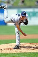 Columbus Clippers pitcher Kevin Slowey #26  during a game versus the Pawtucket Red Sox at McCoy Stadium in Pawtucket, Rhode Island on May 13, 2012.   (Ken Babbitt/Four Seam Images)