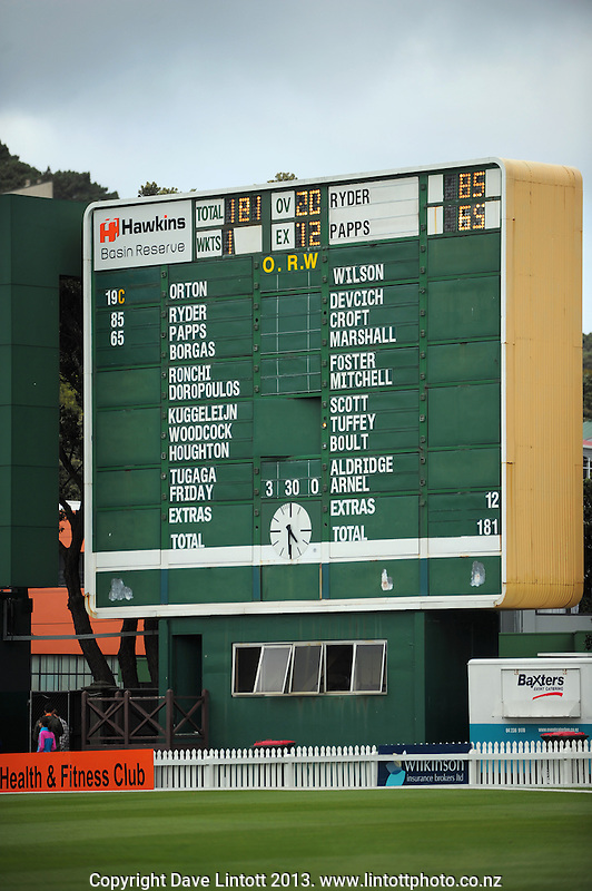 The scoreboard is cleared for the Knights' batting innings during the HRV Cup Twenty20 cricket match between the Wellington Firebirds and Northern Knights at Hawkins Finance Basin Reserve, Wellington, New Zealand on Sunday, 13 January 2013. Photo: Dave Lintott / lintottphoto.co.nz