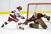 Kate Buesser (Harvard - 20), Corinne Boyles (BC - 29) - The Harvard University Crimson defeated the Boston College Eagles 5-0 in their Beanpot semi-final game on Tuesday, February 2, 2010 at the Bright Hockey Center in Cambridge, Massachusetts.