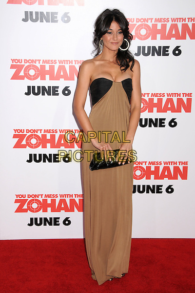"EMMANUELLE CHRIQUI.""You Don't Mess With The Zohan"" LA Premiere at Grauman's Chinese Theatre, Hollywood, California, USA..May 28th, 2008.full length beige black gold dress strapless shoulder hoop earrings clutch bag.CAP/ADM/BP.©Byron Purvis/AdMedia/Capital Pictures."