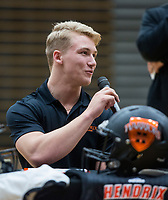 NWA Democrat-Gazette/BEN GOFF @NWABENGOFF<br /> Harrison Campbell, Bentonville football player, makes remarks Wednesday, Feb. 6, 2019, during a signing ceremony at Bentonville's Tiger Arena. Campbell signed to play at Hendrix.