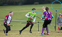08 MAR 2015 - NOTTINGHAM, GBR - Thomas Tugulu of Keele Squirrels attempts to find a way upfield during the 2015 British Quidditch Cup bronze medal decider against Loughborough Longshots at Woollaton Hall and Deer Park in Nottingham, Great Britain (PHOTO COPYRIGHT © 2015 NIGEL FARROW, ALL RIGHTS RESERVED)
