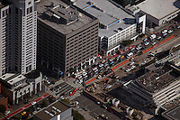 aerial photograph of the W San Francisco and traffic at the intersection of Third and Howard Streets, South of Market Street, SoMa, San Francisco, California