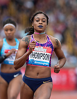 Elaine THOMPSON of JAM wins her 100 metre Heat in 10.97 during the Muller Grand Prix Birmingham Athletics at Alexandra Stadium, Birmingham, England on 20 August 2017. Photo by Andy Rowland.