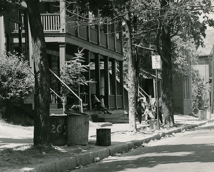1968 May 17..Redevelopment.E Ghent North (A-1-2) R-55..Homes on south side of 13th Street between Omohundro and Llewellyn.House numbers 213 & 215..Sam McKay.NEG# SLM68-40-8.NRHA#..