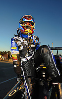 Jan. 19, 2012; Jupiter, FL, USA: NHRA top fuel dragster driver Antron Brown during testing at the PRO Winter Warmup at Palm Beach International Raceway. Mandatory Credit: Mark J. Rebilas-