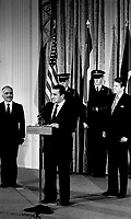 Washington, DC., USA, February 14, 1984<br /> President Ronald Reagan meets with King Hussein II of Jordan and President Hosni Mubarak of Egypt in the East Room  of the White House. Credit: Mark Reinstein/MediaPunch