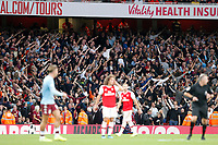 Aston Villa fans seen during the Premier League match between Arsenal and Aston Villa at the Emirates Stadium, London, England on 22 September 2019. Photo by Carlton Myrie / PRiME Media Images.