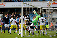 Hull City goalkeeper, George Long, makes a fine save during Millwall vs Hull City, Emirates FA Cup Football at The Den on 6th January 2019