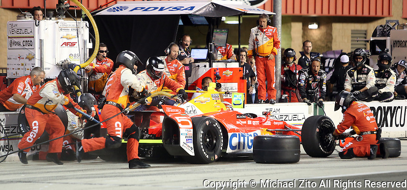 10/19/13 Fontana, CA: E.J Viso  in the pits during the MAVTV 500 held at the Auto Club Speedway.