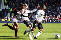 Bolton Wanderers' Mark Little chasing down Derby County's Ashley Cole <br /> <br /> Photographer Andrew Kearns/CameraSport<br /> <br /> The EFL Sky Bet Championship - Derby County v Bolton Wanderers - Saturday 13th April 2019 - Pride Park - Derby<br /> <br /> World Copyright &copy; 2019 CameraSport. All rights reserved. 43 Linden Ave. Countesthorpe. Leicester. England. LE8 5PG - Tel: +44 (0) 116 277 4147 - admin@camerasport.com - www.camerasport.com