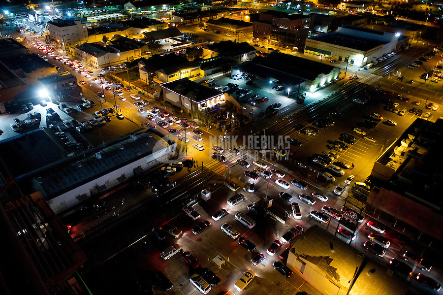 traffic jam downtown Phoenix Arizona post game road cars industrial gridlock parking lot