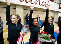 STANFORD, CA--March 1, 2013--Stanford's senior Nicole Dayton is honored with her parents and grandmother after Friday, March 1, 2013, Gymnastics competition against Cal and Oregon State University on the Stanford University Campus. Stanford won the competition.