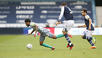 Blackburn Rovers' Dominic Samuel is challenged by Millwall's Jake Cooper<br /> <br /> Photographer Rob Newell/CameraSport<br /> <br /> The EFL Sky Bet Championship - Millwall v Blackburn Rovers - Tuesday July 14th 2020 - The Den - London<br /> <br /> World Copyright © 2020 CameraSport. All rights reserved. 43 Linden Ave. Countesthorpe. Leicester. England. LE8 5PG - Tel: +44 (0) 116 277 4147 - admin@camerasport.com - www.camerasport.com