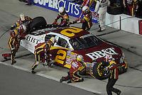 May 4, 2007; Richmond, VA, USA; Nascar Busch Series driver Clint Bowyer (2) pits during the Circuit City 250 at Richmond International Raceway. Mandatory Credit: Mark J. Rebilas