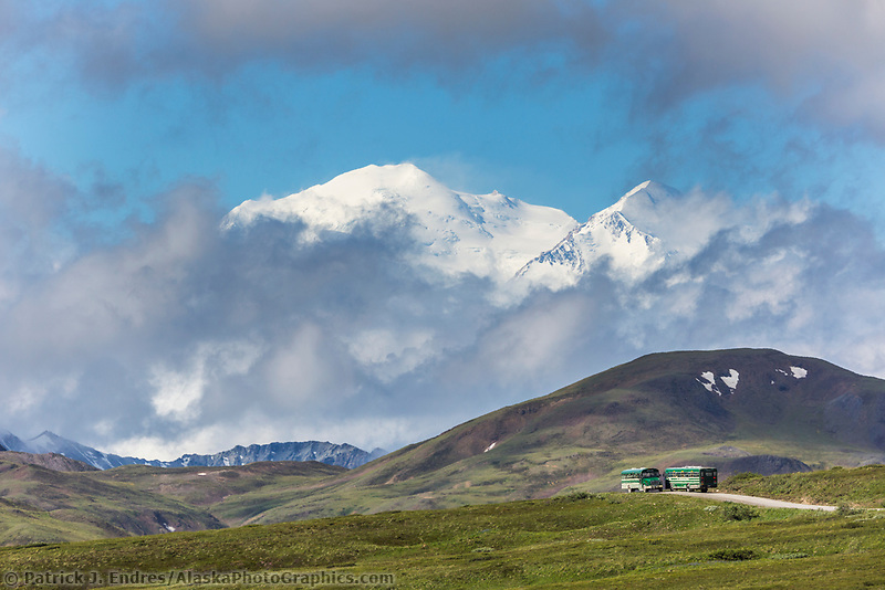 Tour bus on the Park road in Denali National Park, Alaska.