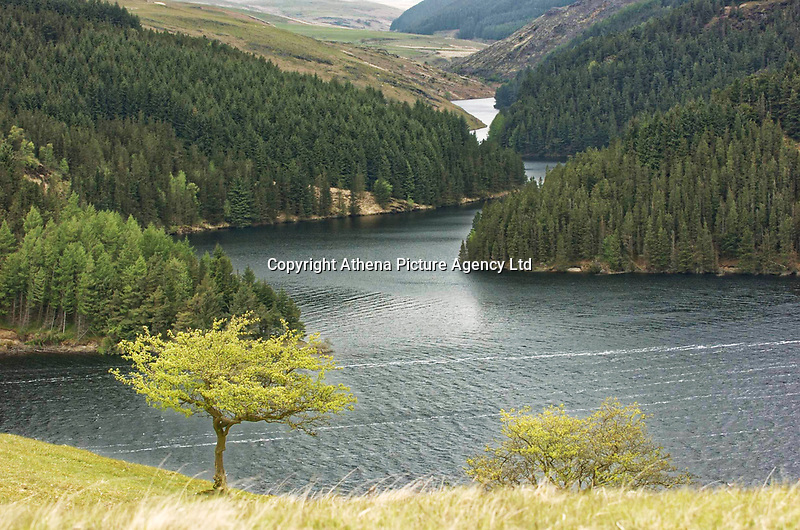 """Pictured: Llyn Brianne in mid Wales, UK. STOCK PICTURE<br /> Re: Rescuers had to climb down the side of a reservoir to check if anyone was inside the old shell of a Ford Sierra car that was exposed after water levels dropped.<br /> Brecon Mountain Rescue Team were called by Dyfed Powys Police to investigate the strange discovery at Llyn Brianne Reservoir.<br /> Volunteers used ropes to get to and inspect the car.<br /> The service tweeted: """"The vehicle had been there for many years & (more importantly) was unoccupied""""."""