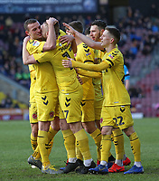 Fleetwood Town's Paddy Madden is mobbed after scoring his side's first goal <br /> <br /> Photographer David Shipman/CameraSport<br /> <br /> The EFL Sky Bet League One - Bradford City v Fleetwood Town - Saturday 9th February 2019 - Valley Parade - Bradford<br /> <br /> World Copyright &copy; 2019 CameraSport. All rights reserved. 43 Linden Ave. Countesthorpe. Leicester. England. LE8 5PG - Tel: +44 (0) 116 277 4147 - admin@camerasport.com - www.camerasport.com