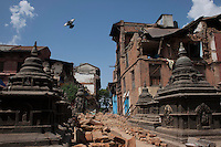 The destroyed site of Shoyembho temple, just outside Kathmandu, Nepal