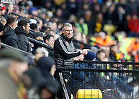 1st February 2020; Vicarage Road, Watford, Hertfordshire, England; English Premier League Football, Watford versus Everton; Watford Manager Nigel Pearson shouting instructions to his staff from the dugout