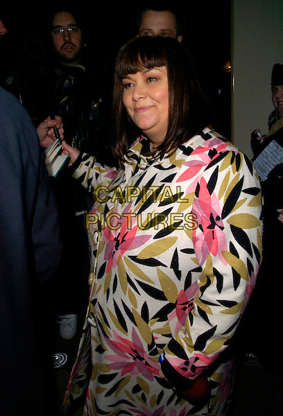 "DAWN FRENCH.The ""Dr. Who"" series 3 TV premiere, Mayfair Hotel, London, UK..March 21st, 2007.doctor half length floral print black green pink coat.CAP/CAN.©Can Nguyen/Capital Pictures"