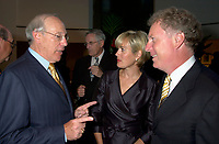 Astral Media CEO Ian Greenberg (L) speak with Quebec opposition leader and chief of the Quebec Liberal Party ; Jean Charest (R) and his wife (M) at a private dinner, august 23rd , 200l in Montreal, CANADA.