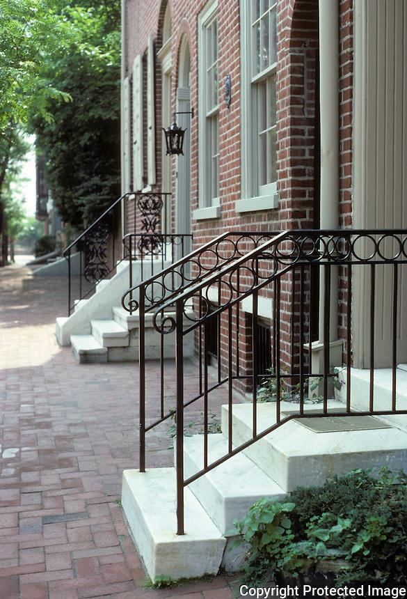 Philadelphia: 100 block of Delancey St. Marble stoops, brick walks. Photo '85.