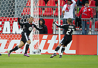 16 April 2011: D.C. United midfielder/forward Chris Pontius #13 and D.C. United midfielder/forward Fred #27 celebrate a goal during an MLS game between D.C. United and the Toronto FC at BMO Field in Toronto, Ontario Canada..D.C. United won 3-0.