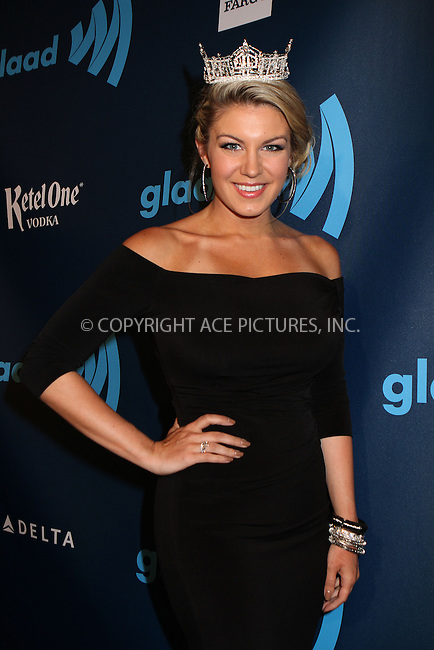 WWW.ACEPIXS.COM....March 16 2013, New York City....Miss America 2013 Mallory Hagan  arriving at the 24th annual GLAAD Media awards at The New York Marriott Marquis on March 16, 2013 in New York City.....By Line: Nancy Rivera/ACE Pictures......ACE Pictures, Inc...tel: 646 769 0430..Email: info@acepixs.com..www.acepixs.com